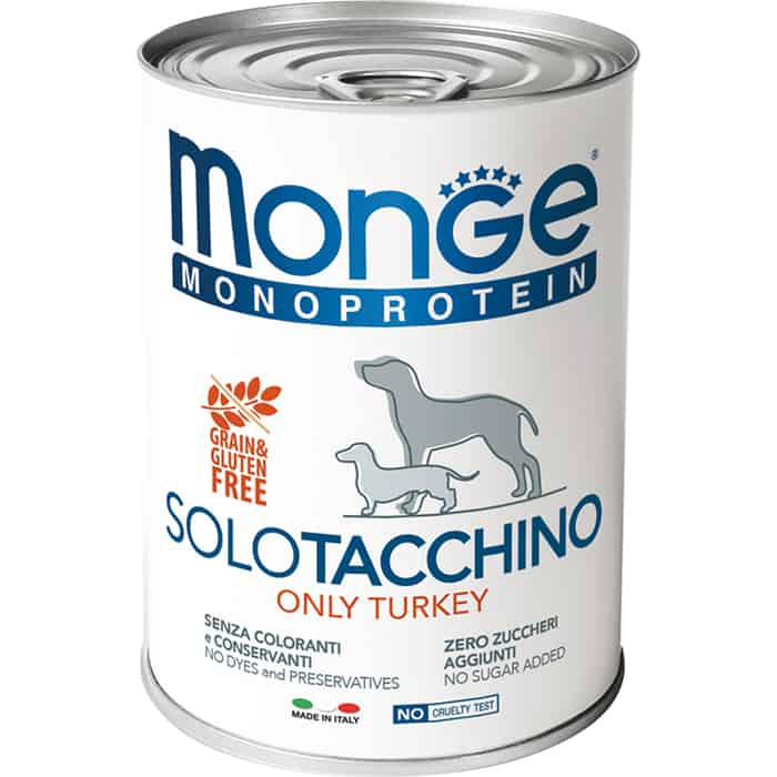 Консервы Monge Dog Monoproteico Solo Pate Turkey паштет из индейки для собак 400г