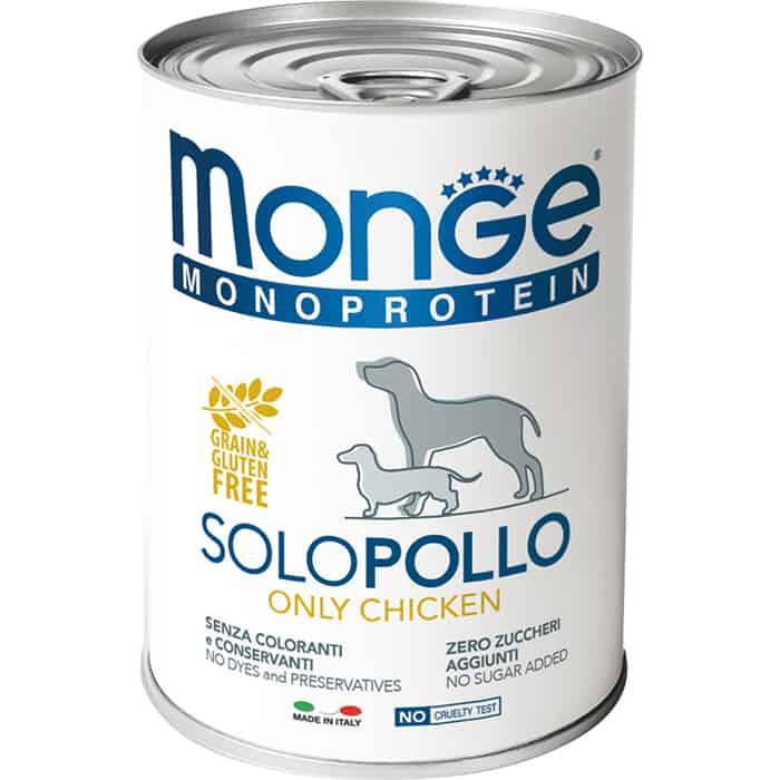Консервы Monge Dog Monoproteico Solo Pate Chicken паштет из курицы для собак 400г