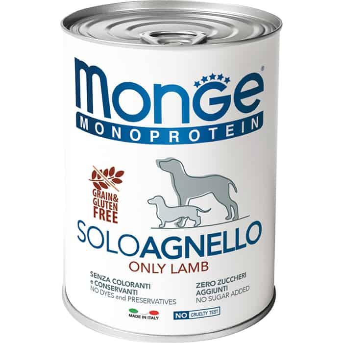 Консервы Monge Dog Monoproteico Solo Pate Lamb паштет из ягненка для собак 400г