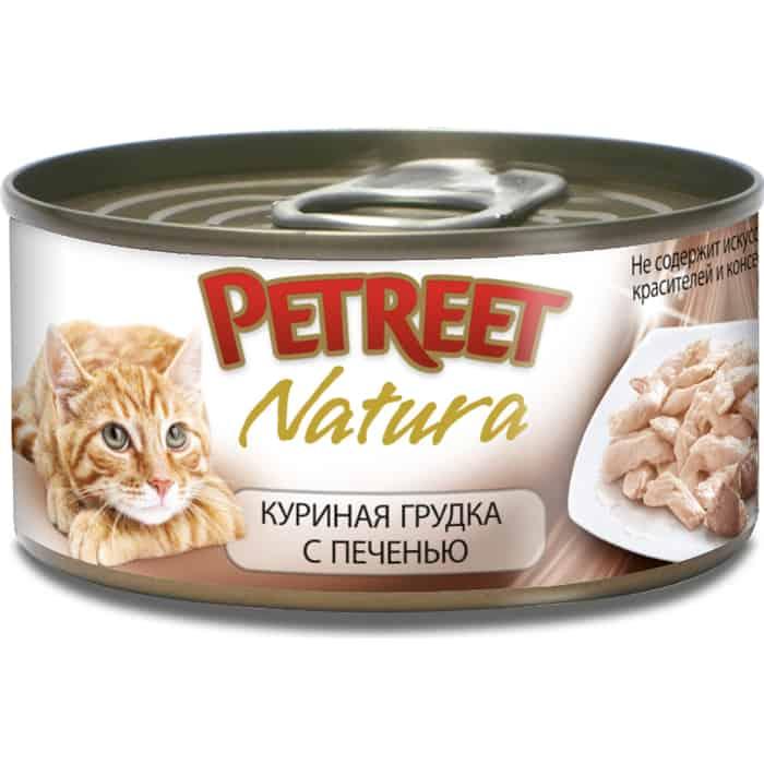 Консервы Petreet Natura куриная грудка с печенью для кошек 70г