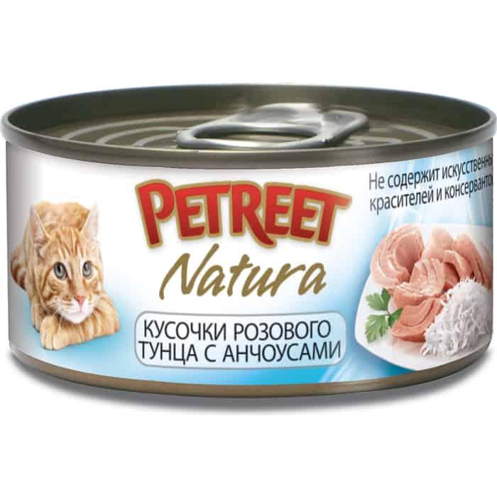 Консервы Petreet Natura кусочки розового тунца с анчоусами для кошек 70г