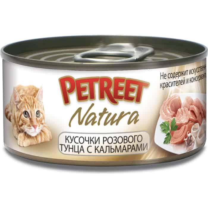 Консервы Petreet Natura кусочки розового тунца с кальмарами для кошек 70г