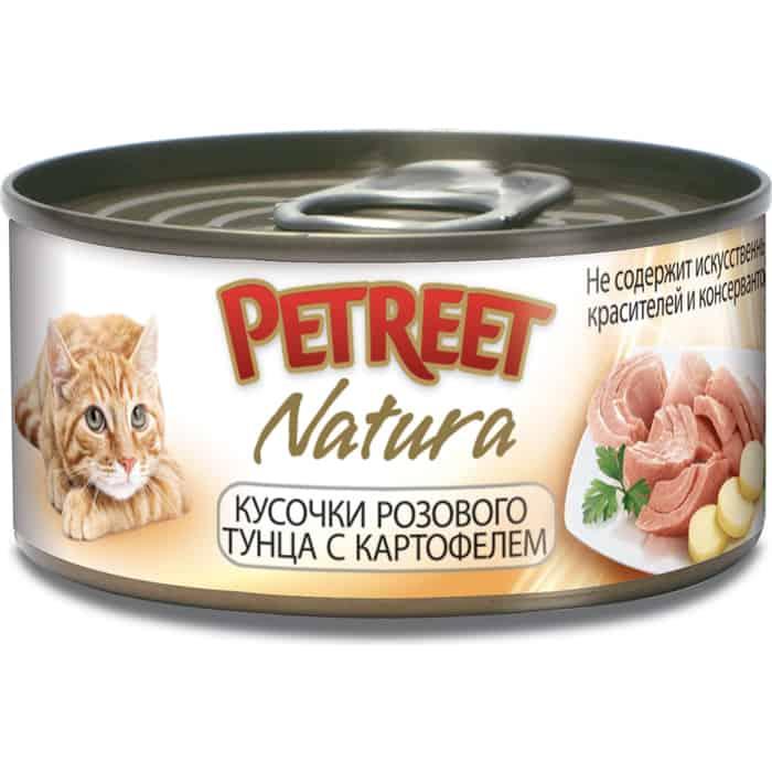 Консервы Petreet Natura кусочки розового тунца с картофелем для кошек 70г