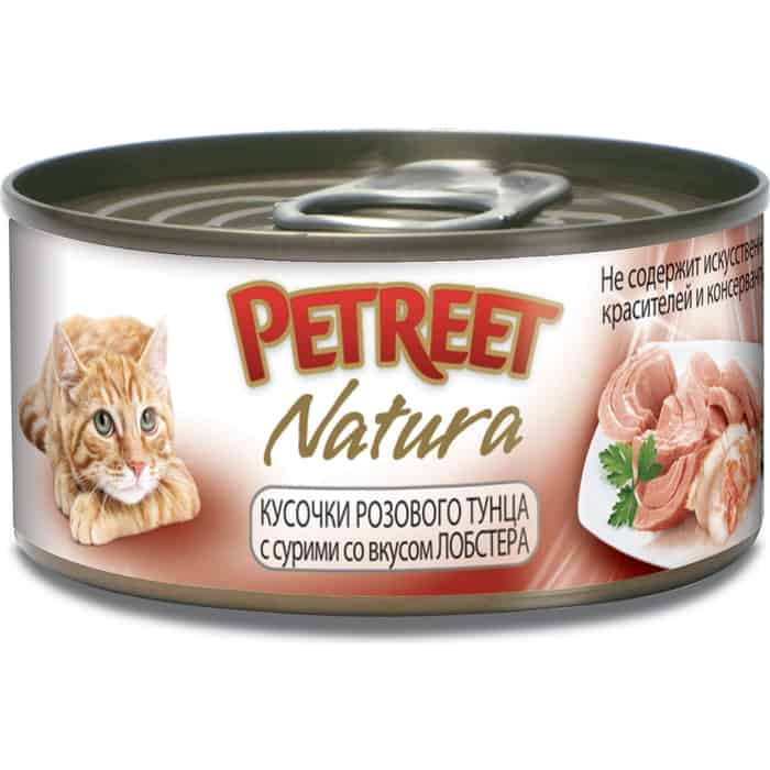 Консервы Petreet Natura кусочки розового тунца с лобстером для кошек 70г
