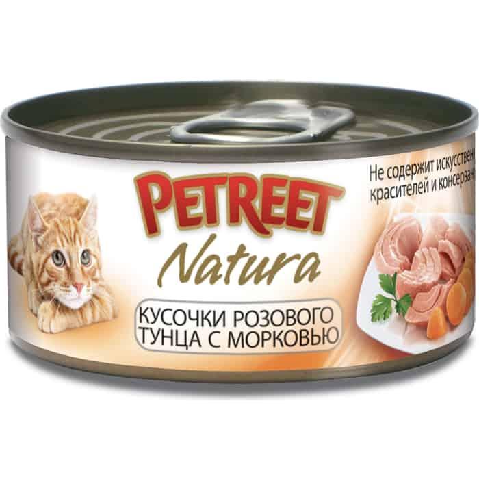 Консервы Petreet Natura кусочки розового тунца с морковью для кошек 70г