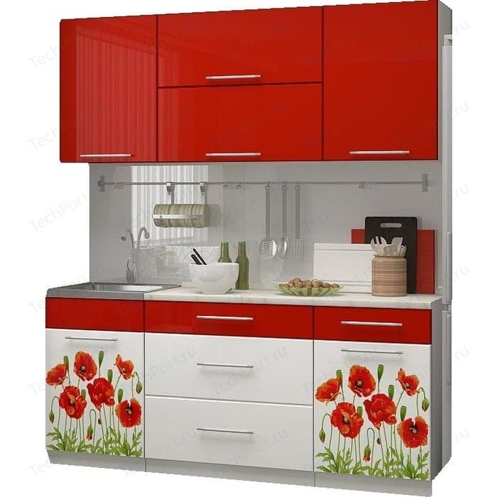 Кухня Миф Маки 1,8 м, красная с фотопечатью