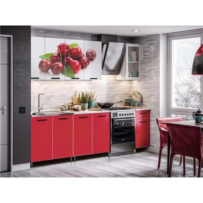 Кухня Миф Рио-1 200 ЛДСП с фотопечатью вишня/красная