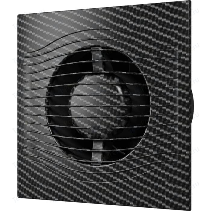 Вентилятор DiCiTi осевой вытяжной с обратным клапаном D 125 декоративный (SLIM 5C black carbon)