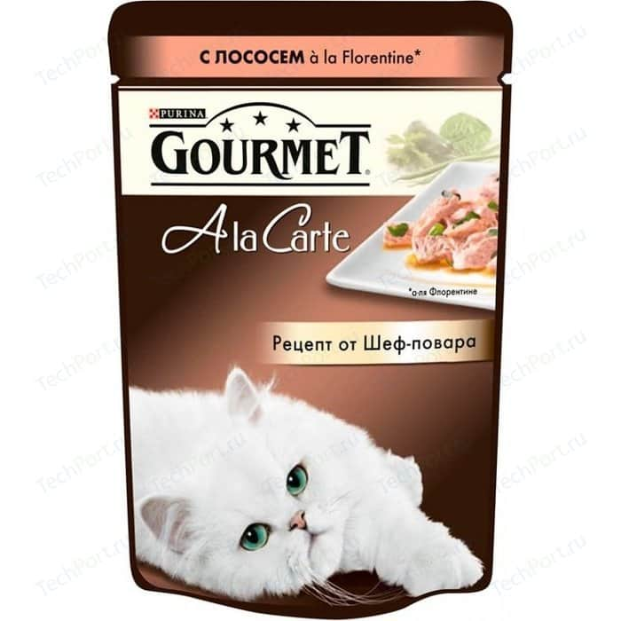 Паучи Gourmet A la Carte с лососем Florentine рецепт от шеф-повара для кошек 85г (12242394)