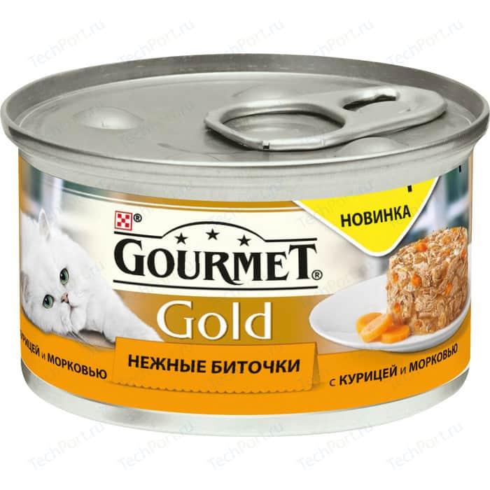 Консервы Gourmet Gold нежные биточки с курицей и морковью для кошек 85г (12296405)