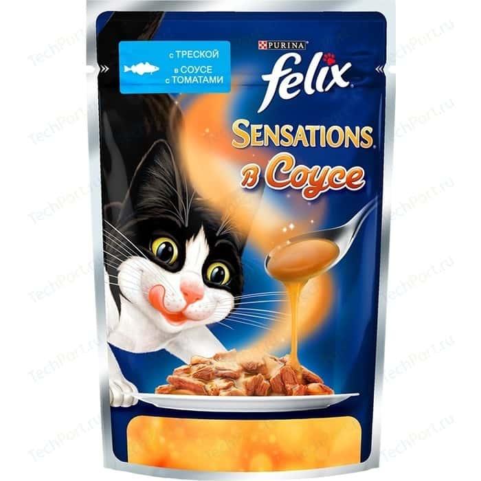 Паучи Felix Sensations кусочки с треской в соусе томатами для кошек 85г (12318966)