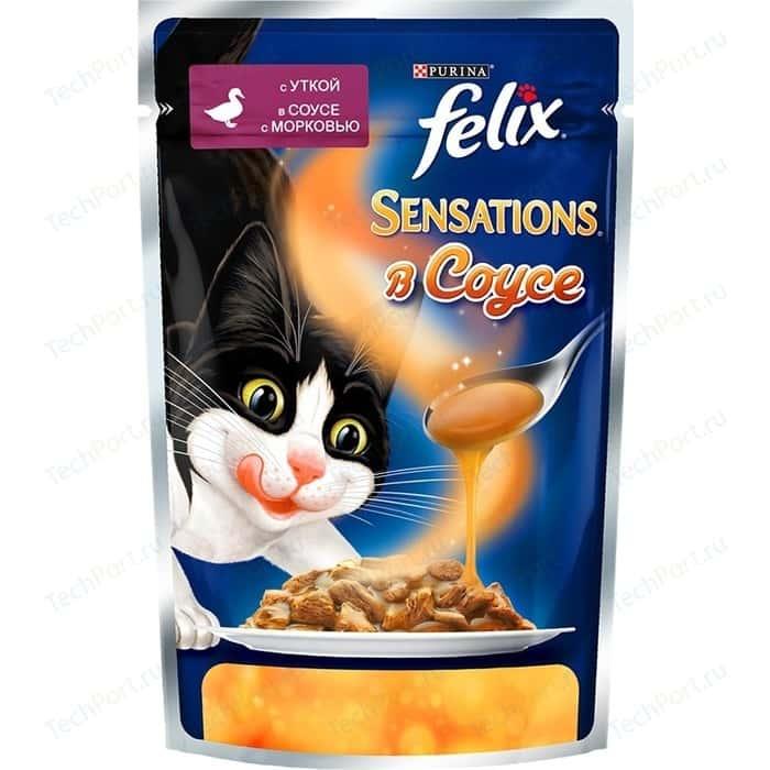 Паучи Felix Sensations кусочки с уткой в соусе морковью для кошек 85г (12318967)
