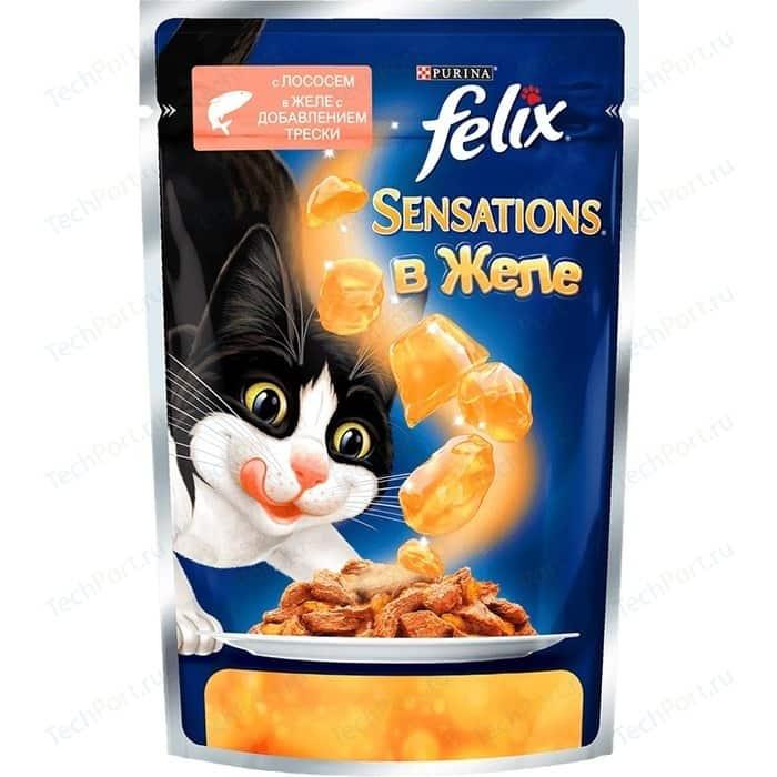 Паучи Felix Sensations кусочки с лососем в желе добавлением трески для кошек 85г (12318961)