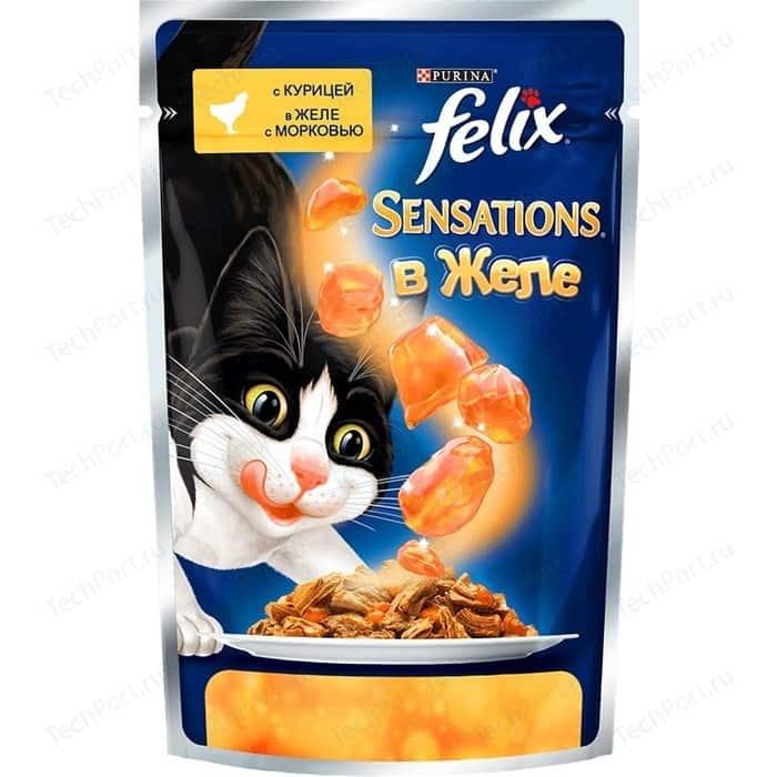 Паучи Felix Sensations кусочки с курицей в желе морковью для кошек 85г (12318964)