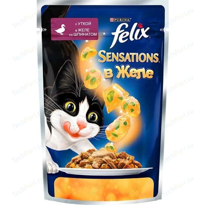 Паучи Felix Sensations кусочки с уткой в желе со шпинатом для кошек 85г (12318963)