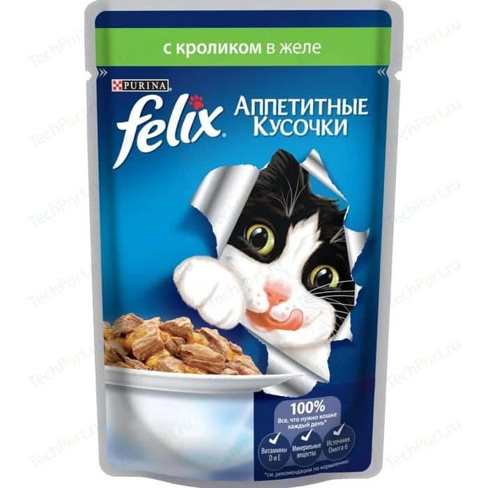 Паучи Felix Аппетитные кусочки с кроликом в желе для кошек 85г (12318915)