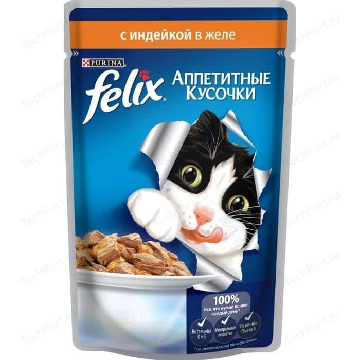 Паучи Felix Аппетитные кусочки с индейкой в желе для кошек 85г (12318919)