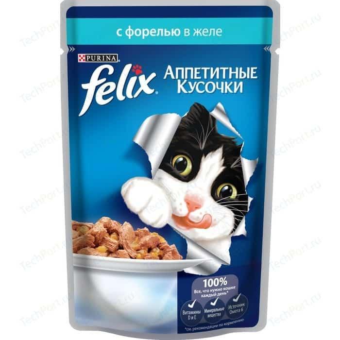 Паучи Felix Аппетитные кусочки с форелью в желе для кошек 85г (12318914)