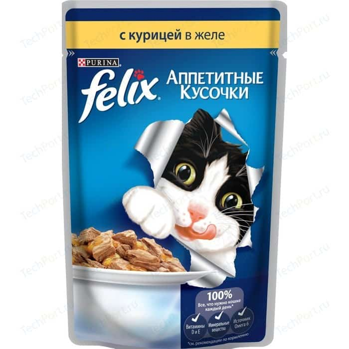 Паучи Felix Аппетитные кусочки с курицей в желе для кошек 85г (12318960)