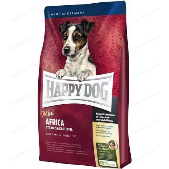 Сухой корм Happy Dog Mini Adult 1-10kg Africa Ostrich & Potato с мясом страуса и картофелем для собак мелких пород 4кг (60121)