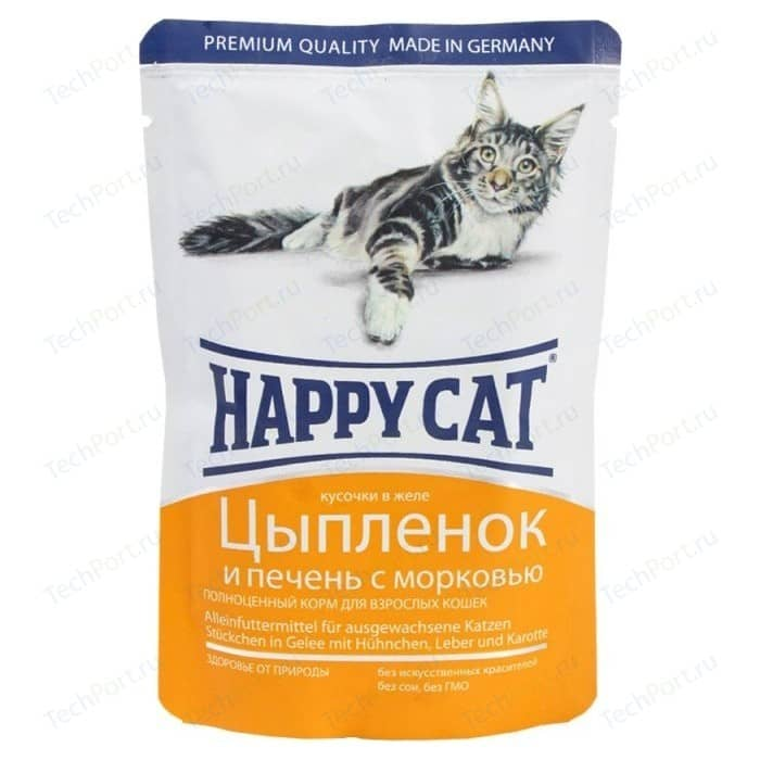 Паучи Happy Cat Цыпленок и печень с морковью кусочки в желе для взрослых кошек 100г (1002308)