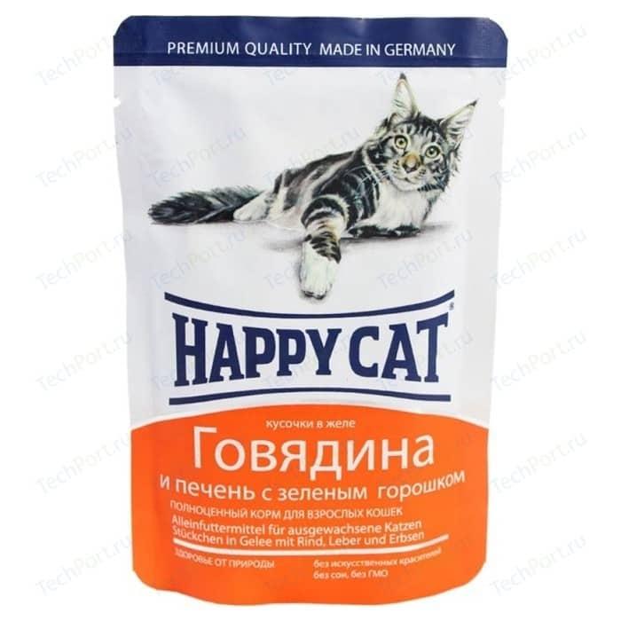 Паучи Happy Cat Говядина и печень с зеленым горошком кусочки в желе для взрослых кошек 100г (1002311)
