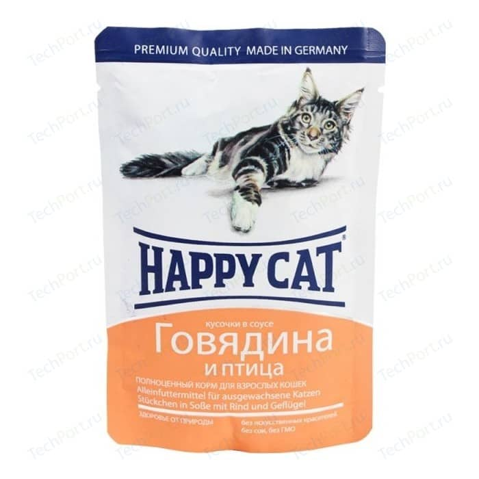 Паучи Happy Cat Говядина и птица кусочки в соусе для взрослых кошек 100г (1002315)