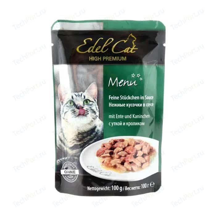 Паучи Edel Cat Menu нежные кусочки в соусе с уткой и кроликом для кошек 100г (08103)