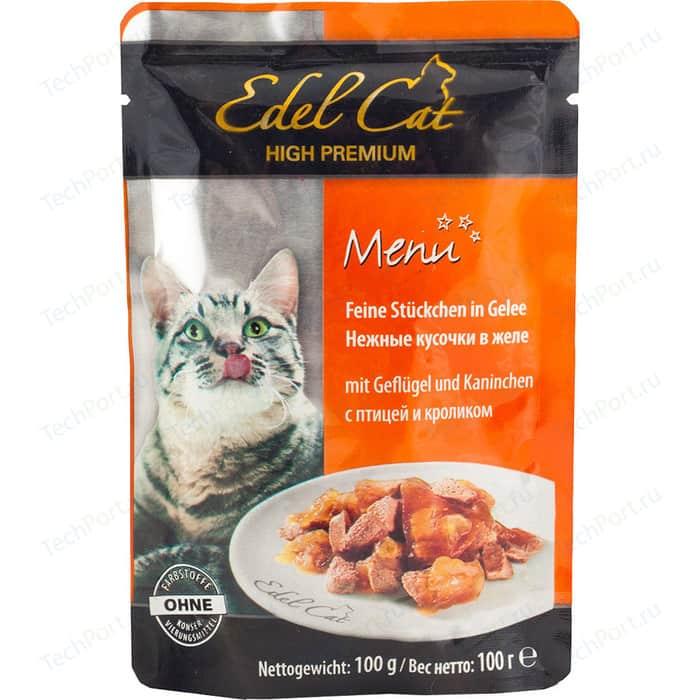 Паучи Edel Cat Menu нежные кусочки в желе с птицей и кроликом для кошек 100г (08107)