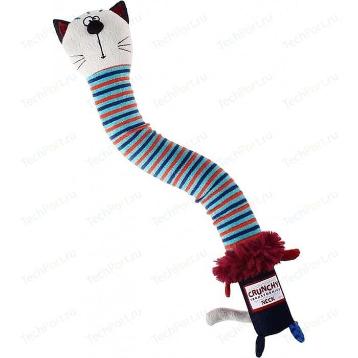 Игрушка GiGwi Crunchy Transforming Neck кот с пищалкой для собак (75413)