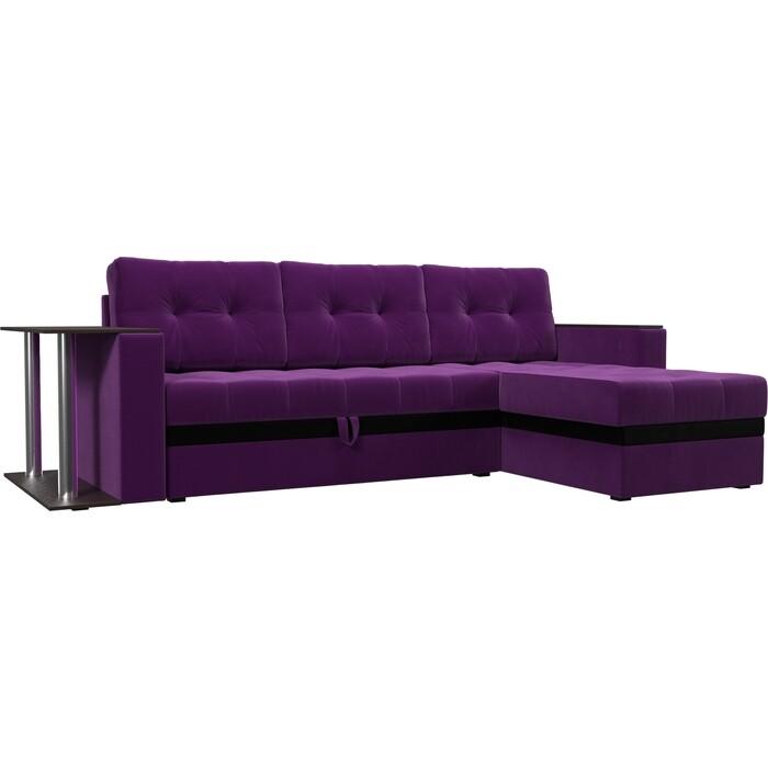 Диван угловой АртМебель Атланта микровельвет фиолетовый правый