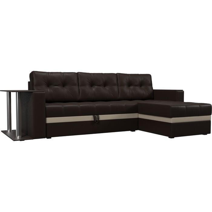 Диван угловой Мебелико Атланта эко кожа коричневый правый угловой диван мебелико панда эко кожа коричневый правый