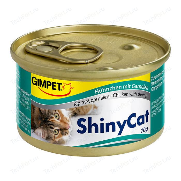 Консервы Gimborn Gimpet ShineCat Chicken with Shrimp цыпленок с креветками для кошек 70г (413327)