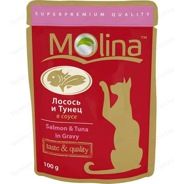 Паучи Molina Taste & Quality Salmon Tuna in Gravy лосось и тунец в соусе для кошек 100г (1099)