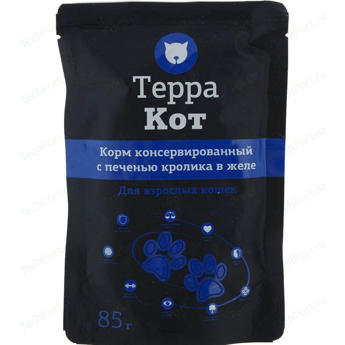 Паучи Терра Кот Корм консервированный с печенью кролика в желе для взрослых кошек 85г (ТК-505) корм консервированный для кошек pcg ме о сардина в желе 400 г