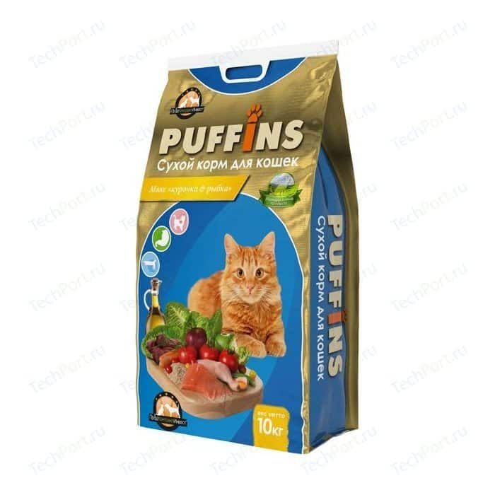 Сухой корм Puffins Микс курочка & рыбка для кошек 10кг
