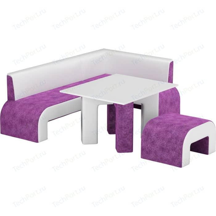 Кухонный уголок АртМебель Кармен микровельвет фиолетовый-белый правый