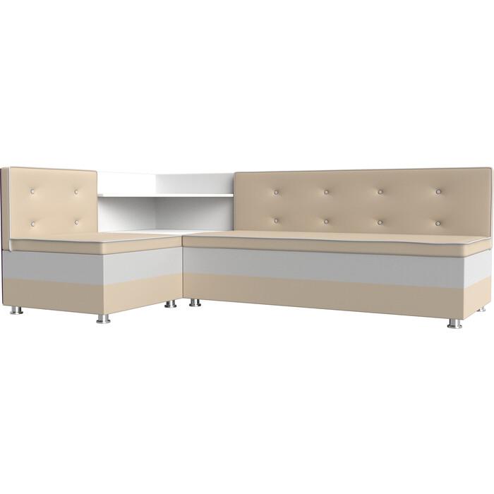 Кухонный диван Мебелико Милан эко-кожа бежевый-белый левый кухонный диван мебелико милан микровельвет фиолетовый белый левый