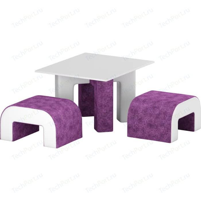Обеденная Группа Мебелико Кармен микровельвет фиолетовый/белый