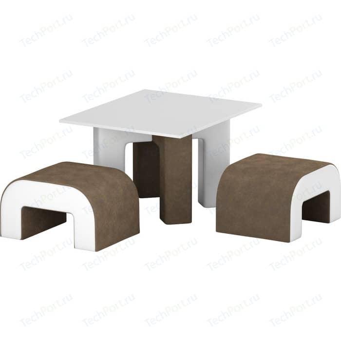 Обеденная Группа АртМебель Кармен микровельвет коричневый-белый