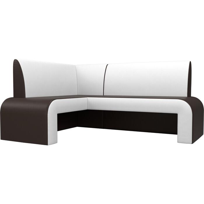 Кухонный диван Мебелико Кармен эко-кожа коричнево/белый левый