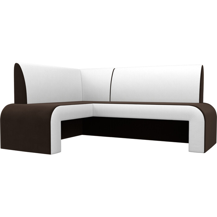 Кухонный диван Мебелико Кармен микровельвет коричнево/белый левый