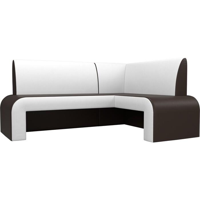 Кухонный Диван Мебелико Кармен эко-кожа коричневый/белый правый