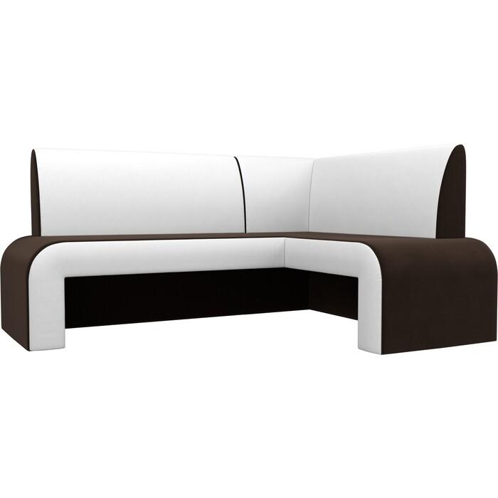 Кухонный Диван Мебелико Кармен микровельвет коричневый/белый правый