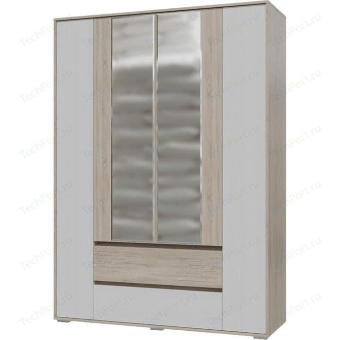 Шкаф 4-х дверный с ящиками Гранд Кволити Мальта 4-4811М дуб сонома/рамух белый недорого