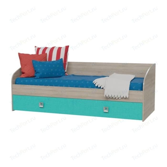 Кровать односпальная с двумя ящиками Гранд Кволити 4-2001 дуб сонома/аква шкаф 4 х дверный с ящиками гранд кволити даллас 4 4818 венге дуб сонома