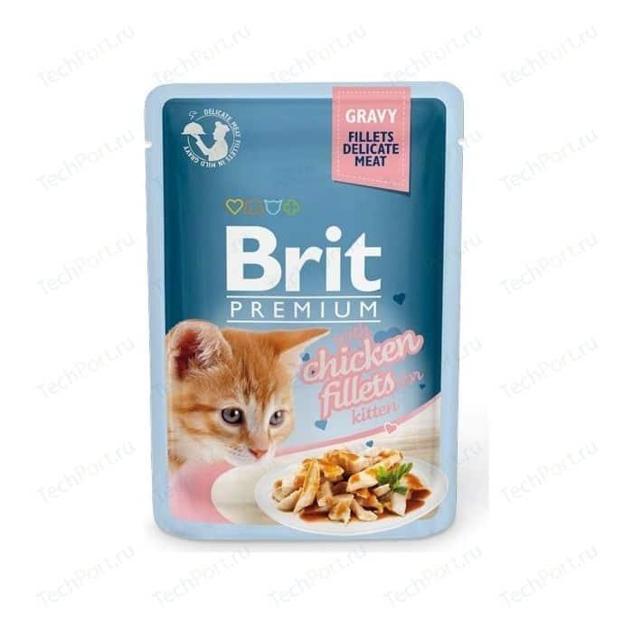Паучи Brit Premium GRAVY with Chicken Fillets for Kitten кусочки в соусе с куриным филе для котят 85г (518579)