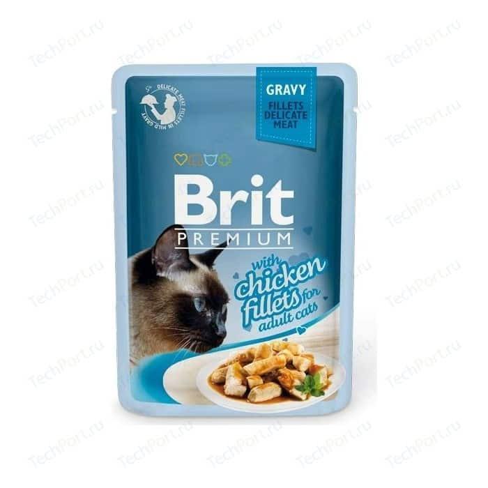 Паучи Brit Premium GRAVY with Chicken Fillets for Adult Cats кусочки в соусе с куриным филе для взрослых кошек 85г (518524)