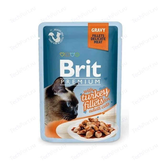 Паучи Brit Premium GRAVY with Turkey Fillets for Adult Cats кусочки в соусе с филе индейки для взрослых кошек 85г (518531)