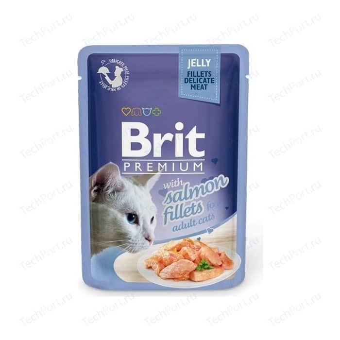 Паучи Brit Premium JELLY with Salmon Fillets for Adult Cats кусочки в желе с филе лосося для взрослых кошек 85г (518487)